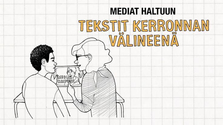 Video: Piirretyssä kuvassa kaksi henkilöä katsoo tablettia.