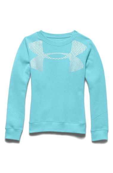 Under Armour 'Rival' AllSeasonGear® Crewneck Sweatshirt (Big Girls)