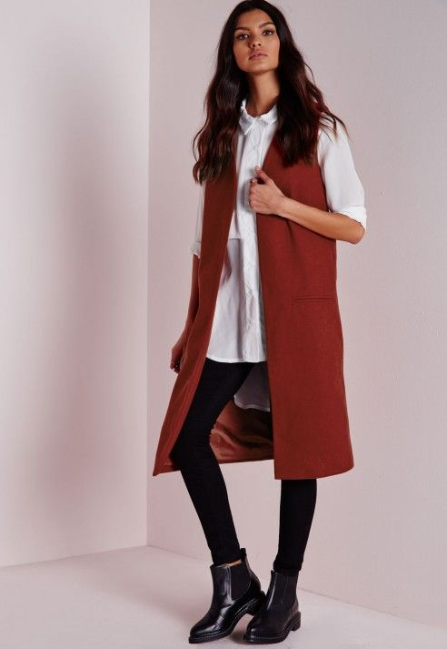 Longline Sleeveless Tailored Wool Blazer Rust - Blazers - Longline Blazers - Missguided