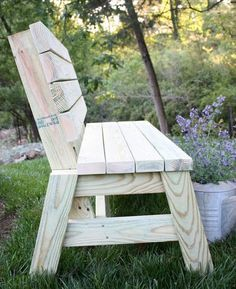 Learn how to make an easy and comfortable DIY 2x4 bench. http://virginiasweetpea.com