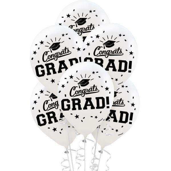 Weiße Glückwunsch-Absolvent-Ballone 15ct