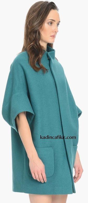 Yeni sezon kış modası mint yeşili yarasa kol oversized kadın kaban modeli   Kadınca Fikir