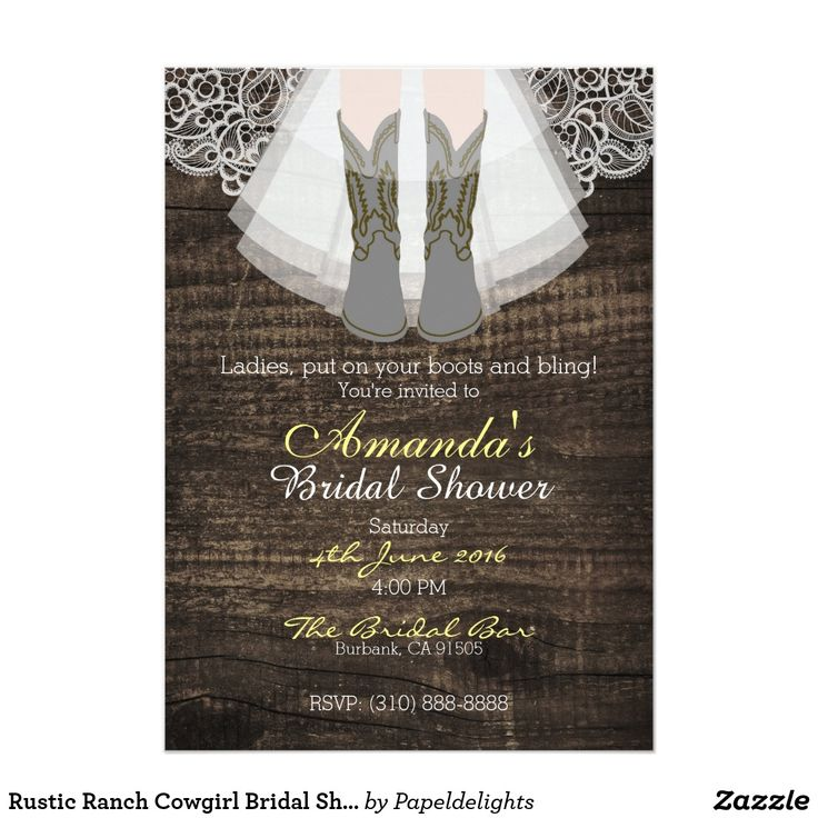 "Rustic Ranch Cowgirl Bridal Shower Invitation 5""x7"