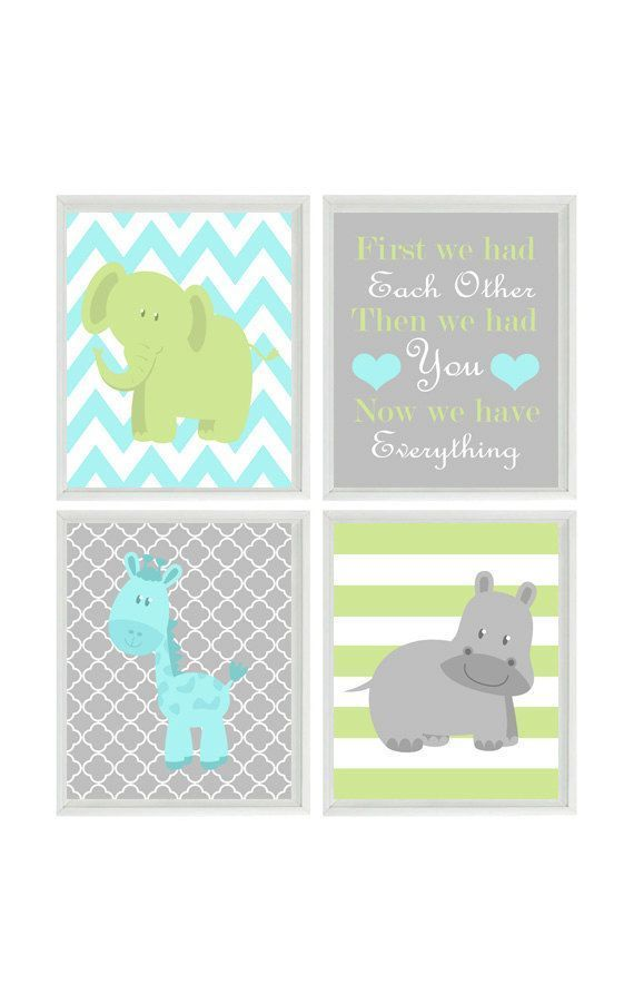 Nursery Wall Art - Elephant Giraffe Hippo - First We Had Eachother Quote - Aqua Gray Green - Wall Art Print Set 4 8x10 - Baby Boy Wall Art #pregnancyfirstmorningsickness #pregnancyfirstquotes