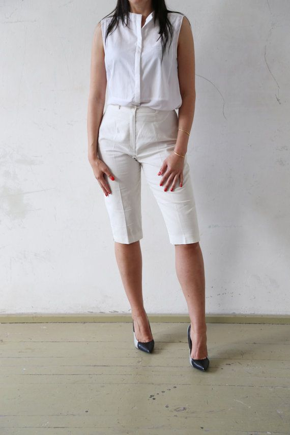 90s vintge capri pants - off pantalone bianco lino estivo chic - pieghe capris…