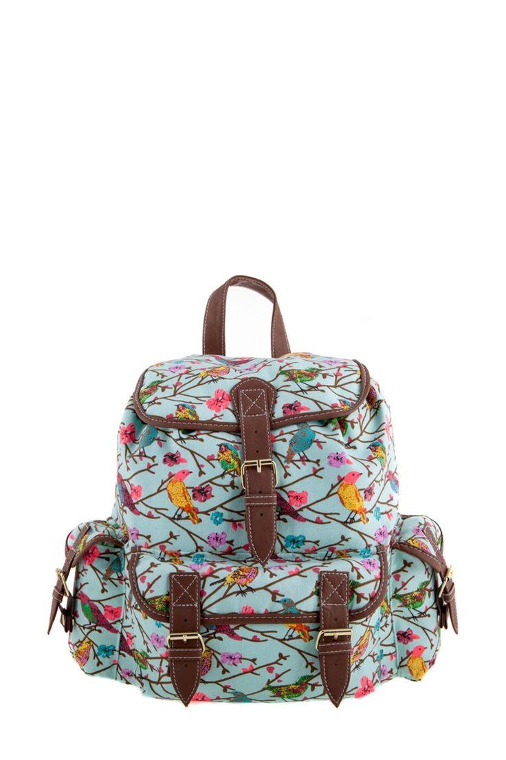 1534106548, AQUA, Bird print backpack ,Bird print σακίδιο πλάτης