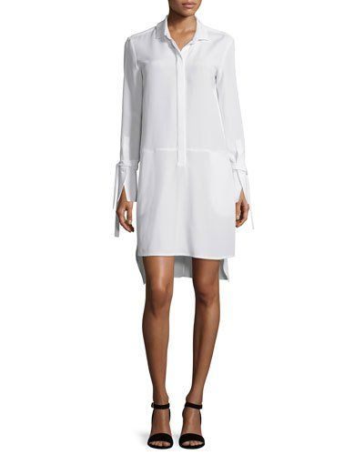 Halston+Heritage+Long+Sleeve+High+Low+Stretch+Faille+Shirtdress+Chalk+|+Frock,+Dress+and+Clothing