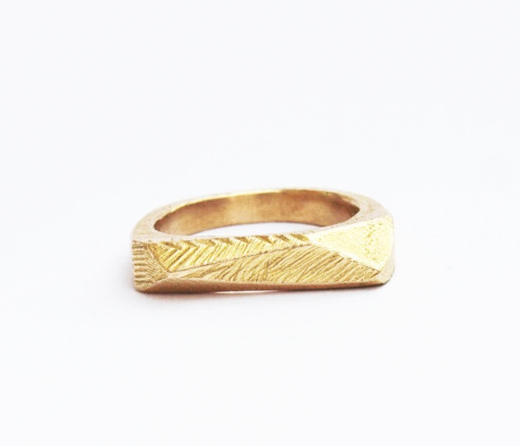 Brass Faceted Bar Ring