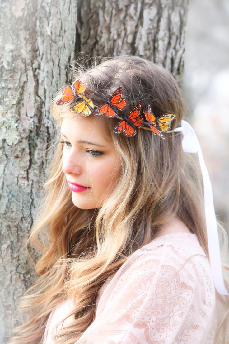 Gold and Red Monarch Butterfly hair crown, butterfly hair crown. $30.00, via Etsy.