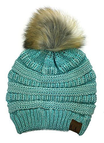 8914441fd9c Plum Feathers Soft Stretch Cable Knit Ribbed Faux Fur Pom Pom Beanie Hat  Mint Metallic   You can get additional details at the image link.