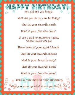 the mud pie makers: All About Me: Birthday Questionnaire!