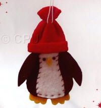DoCrafts Mini Soft Christmas Kits - Penguin in Red Hat.  Perfect for making your own Xmas Tree Decorations.