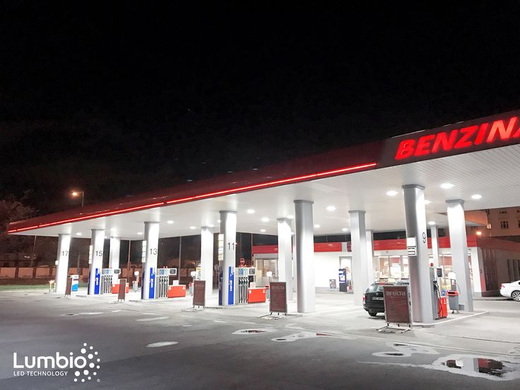 LED canopy lights Lumbio for a gas station Benzina. One of our many installations.