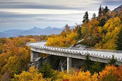 Blue Ridge Parkway Autumn Linn Cove Viaduct Fall Foliage Mountains Photographic Print by daveallenphoto at Art.com