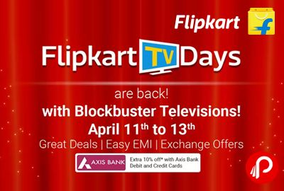 Flipkart TV Days is offering Big Discount on Blockbuster TVs. Extra 10% off Axis Bank Debit & Credit Cards.  http://www.paisebachaoindia.com/flipkart-tv-days-extra-10-off-axis-bank-debit-credit-cards-flipkart/