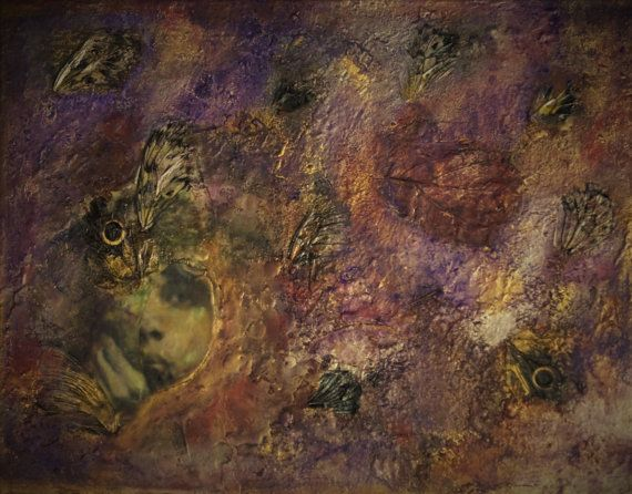 Alcuni di lei ancora sinistra ~ arte astratta ~ Evelyn Nesbit bohemien ~ contemporanea ~ oro arte viola ~ dipinto di donna ~ mista encausto