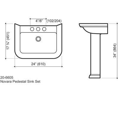 MANCESA - Une manière économique et élégante pour rafraîchir le look de votre salle de bain: le lavabo rectangulaire Novara lavabo piédestal...