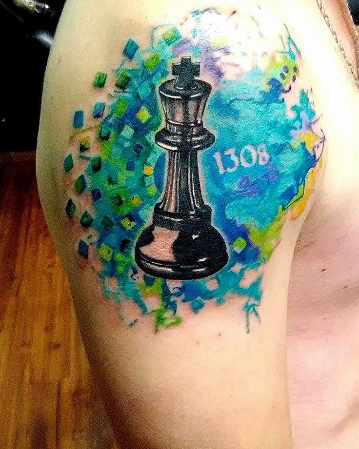 tattoo chess watercolor realistic