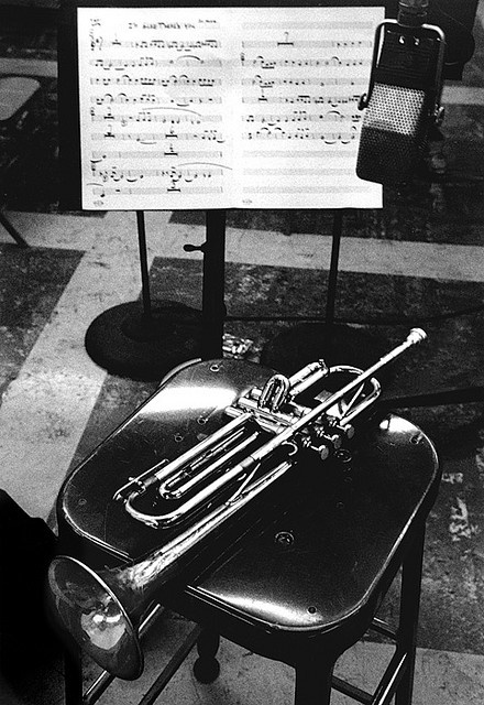 Chet Baker's trumpet, Los Angeles, 1953 • Photographed by Bob Willoughby
