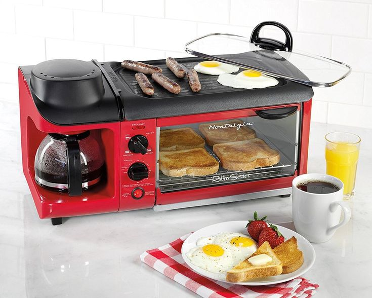 Retro Blue or Red Coffee Maker and Toaster Oven and NonStick Griddle – Vick's Great Deals
