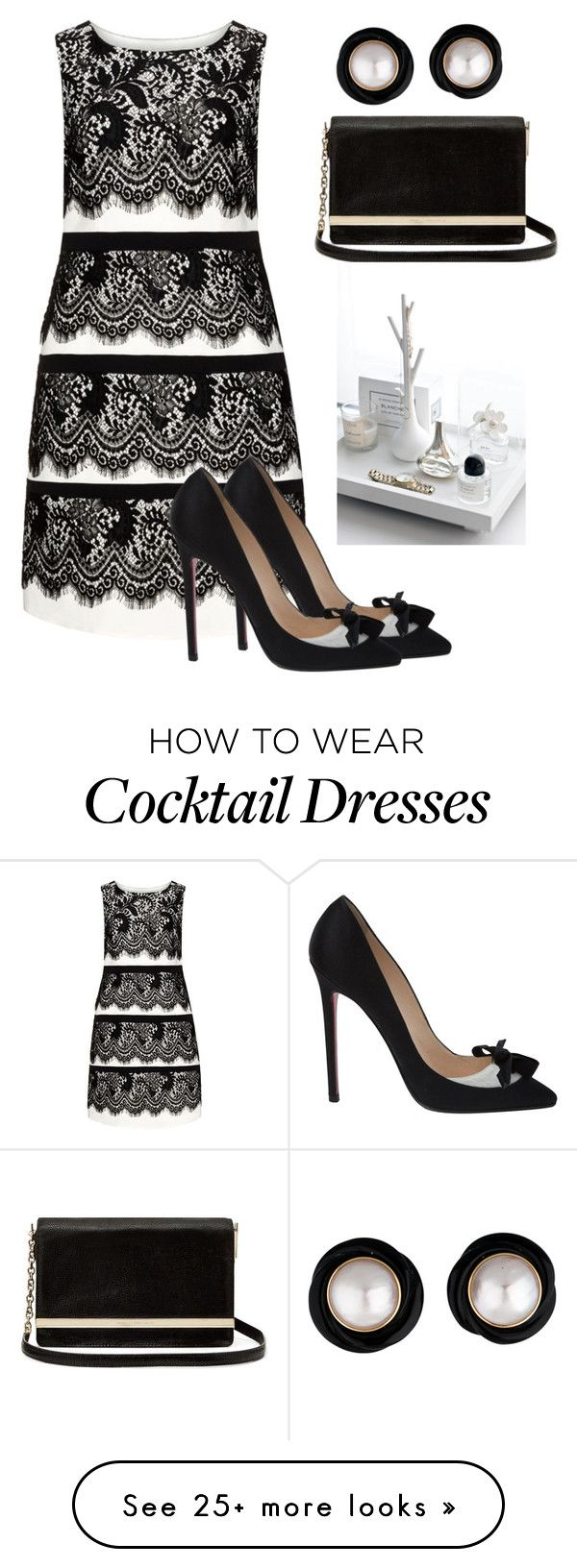 """Black & White"" by naviaux on Polyvore featuring Gina Bacconi, Christian Louboutin and Diane Von Furstenberg"