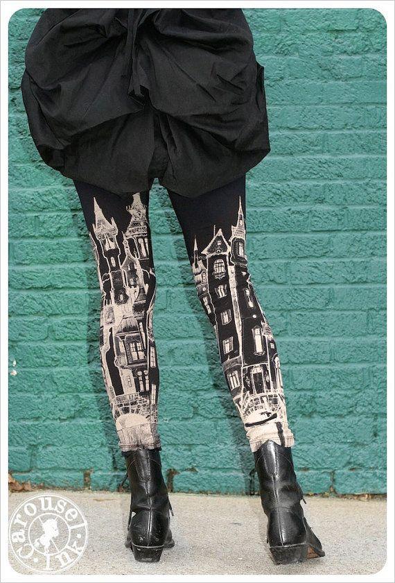 Black City Leggings  Womens Black Legging tights  by Carouselink, $32.00