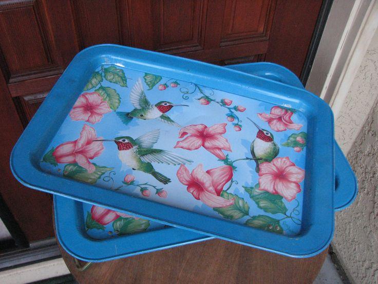 Pair of Vintage Lap Trays, Hummingbird Lap Tray, TV Tray, Midcentury TV Tray, Tin Folding Lap Tray, Tin Bed Tray by AngelsVintageDreams on Etsy