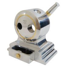 Deluxe Table top cigar cutter by Cuban Crafters has a handmade silver metal body mechansim and tray - CUBAN CRAFTERS