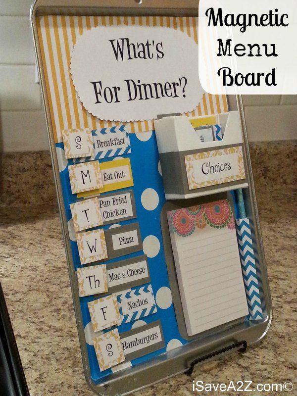 Magnetic Menu Board!! Easy craft to do and so useful!! It's made from an old cookie sheet! Fun and crafty project!