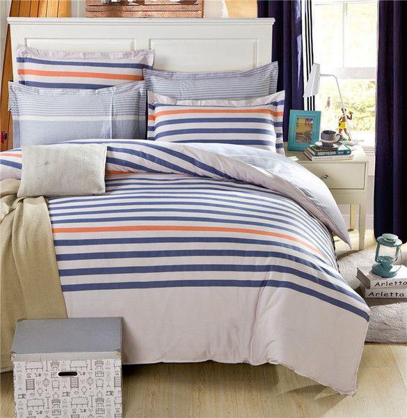 Mordern blue orange stripes on beige bedding set unisex 100 cotton duvet cover pinstriped - Blue and orange bedding sets ...