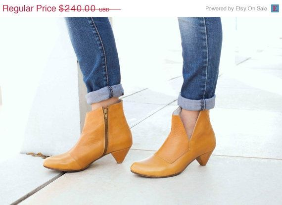 SALE Boots Womens Leather Boots Ankle Boots by OliveThomasShoes