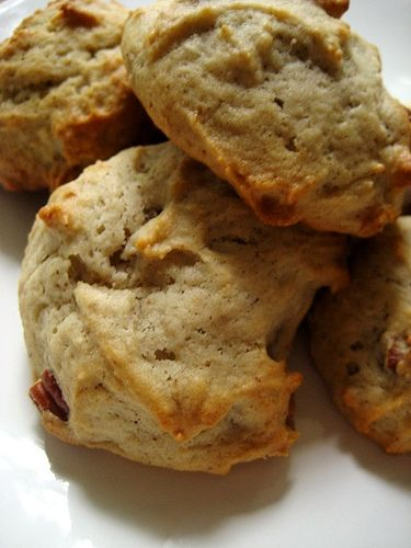 Banana cookies. I had some brown bananas and gave this recipe a try.  Not bad at all.  If you love banana bread you might love these.  But not worth the effort.  They're very soft and cake-y and taste just like banana bread (but making them takes twice the effort and dishes).