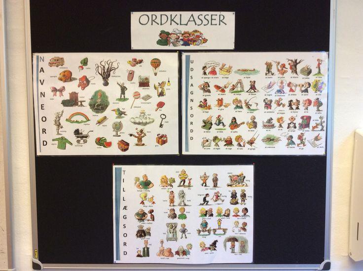 """Ordklasse-plakater... Hver dag opfriskes ordklasserne via en ny""""øvelse"""" ;-) fx """"Gå ud i skoven og find et navneord"""" - eller """"Bevæg et udsagnsord""""..."""
