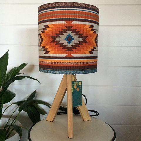 Bohemian Aztec Shade & Wooden tripod base... Available now. #lamp #lampshade #lampshadeshandmadebyme #lighting #glow #homedecor #lightupadullspace #injectsomepersonalityintoyourspace #feature #customorderswelcome #tablelamp #aztec #bohostyle #eclectic #gorgeouscolours #earthytones #home #goldcoast #byvintagelampsanduniqueshades