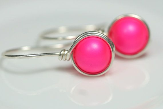 Neon Pink Earrings Wire Wrapped Jewelry by JessicaLuuJewelry, $16.00