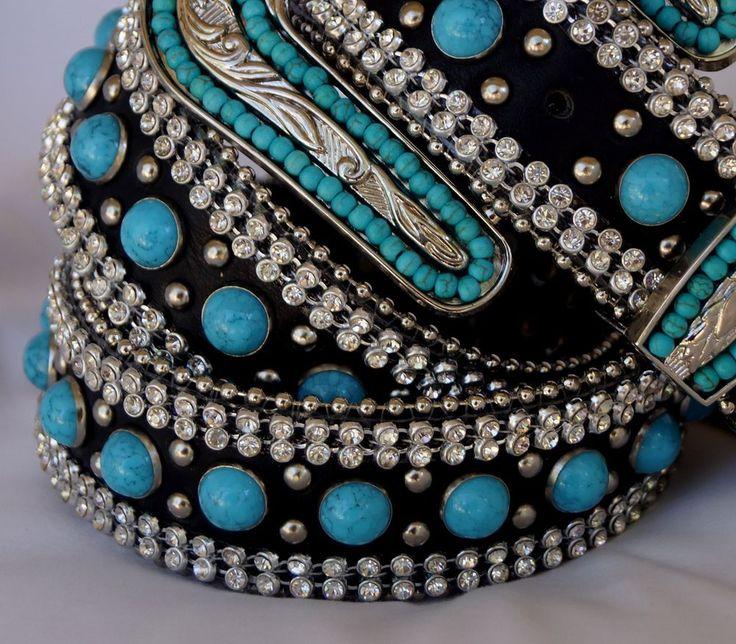 Ladies Western Black Leather Turquoise Stud Belt - Size L - Silver Buckle -
