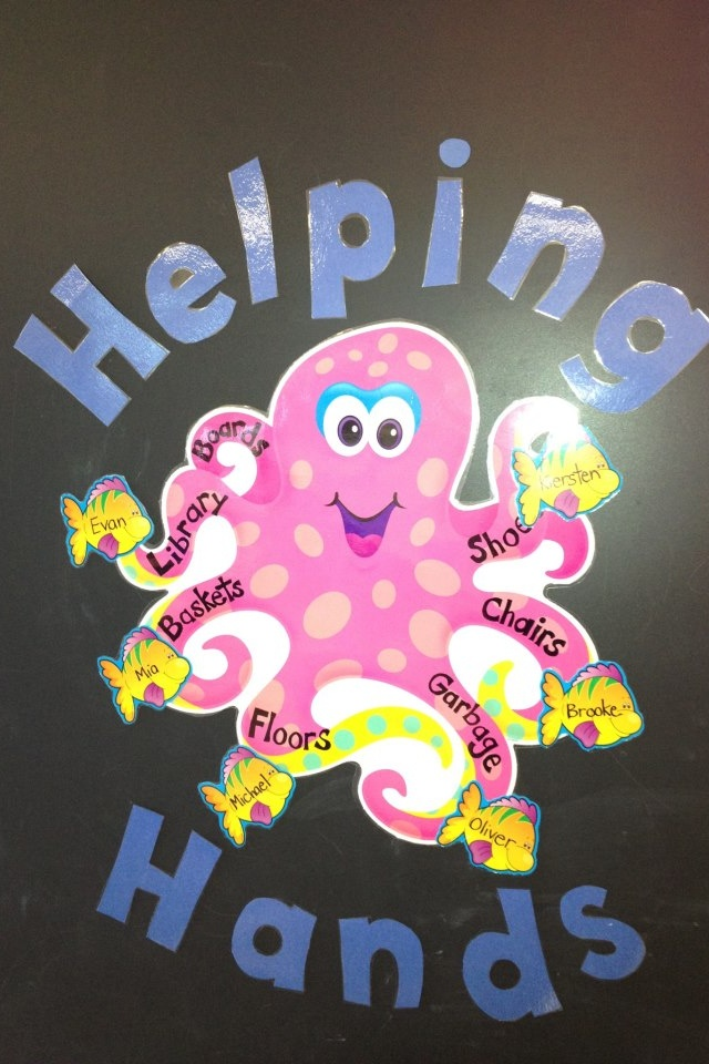 """Ocean themed classroom job board. """"Helping Hands"""".tidying up the classroom-label with the childrens english names"""