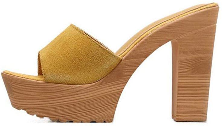 Kimmoon Women Faux Suede Low Heel Mules Casual Slip On Clogs Shoes Peep Toe Platform Block Heel Slide Sanda In 2020 Mules Shoes Clogs Heeled Mules Platform Block Heels