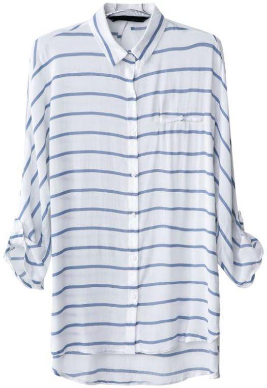Blue White Striped Lapel Dipped Hem Blouse - Sheinside.com