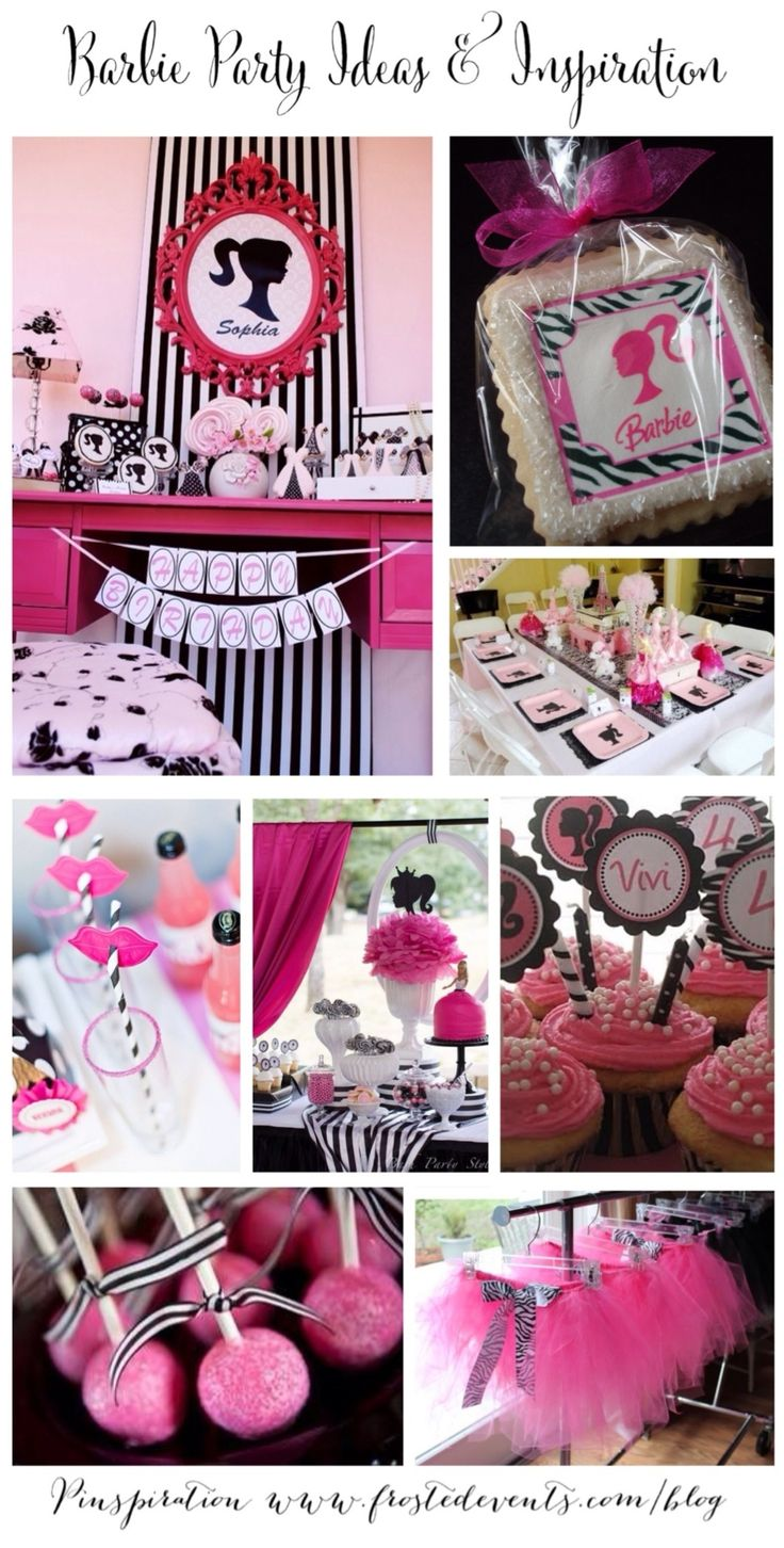 Come on Barbie, let's go party!  Love these Vintage Barbie Doll party ideas, perfect theme for any little glamour girl birthday.  Hot pink and black details make this posh party really pop.  How cute are those cookies, and the sparkly pink cake pops with black and white striped ribbon.  More Barbie party ideas on our …