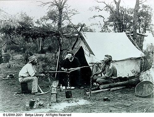 Three prospectors on the Western Australian goldfields