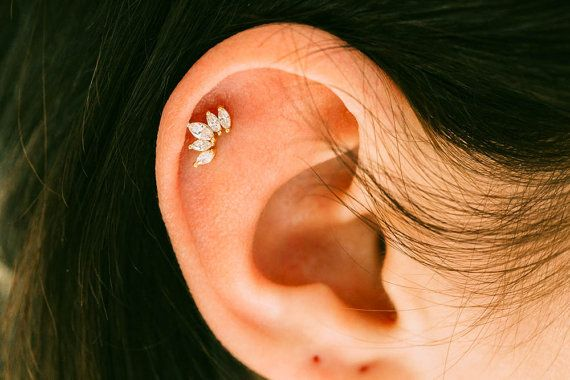 5 clear CZ tragus earringbridesmaid giftSingle by comejew on Etsy