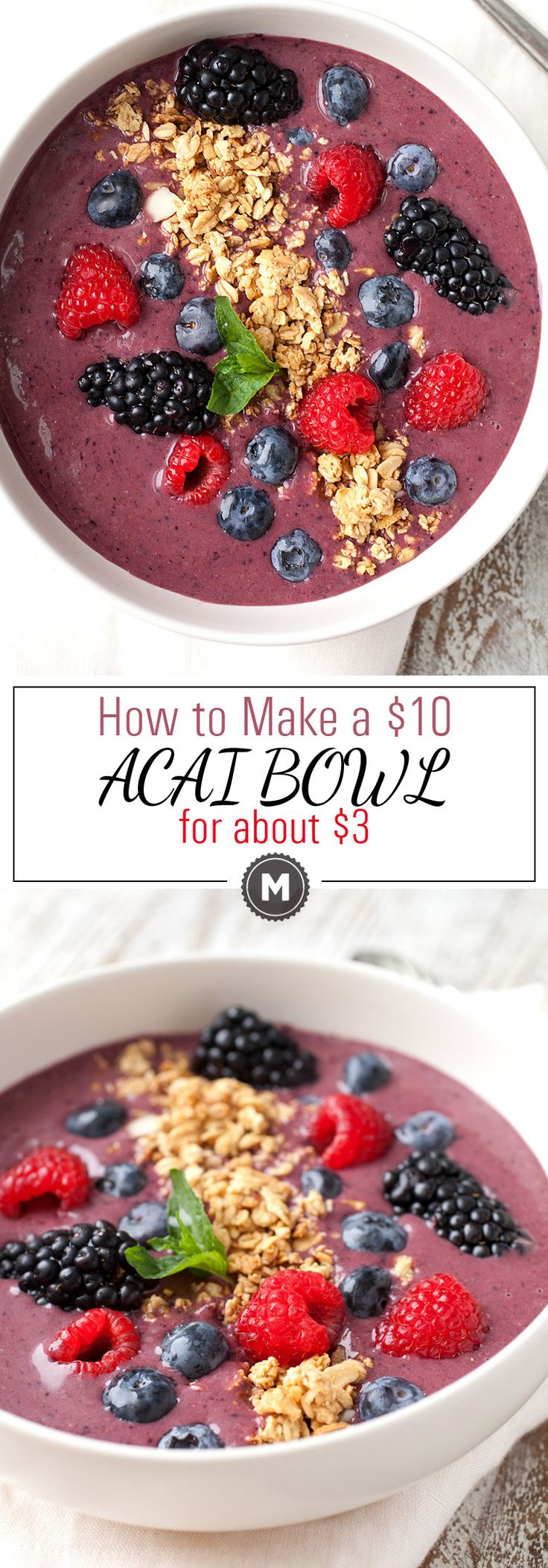 How to Make a $10 Acai Bowl for $3: Acai bowls are all the rage these days but you might get sticker shock if you try to order one at a healthy breakfast spot. Luckily, you can easily make these at home if you have a blender. They are a perfect healthy way to start the day! | macheesmo.com