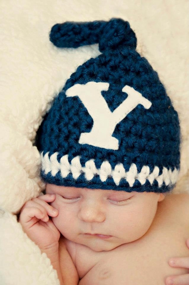 Awwwww!  BYU Knotted beanie and matching loafers set. $38.00, via Etsy.