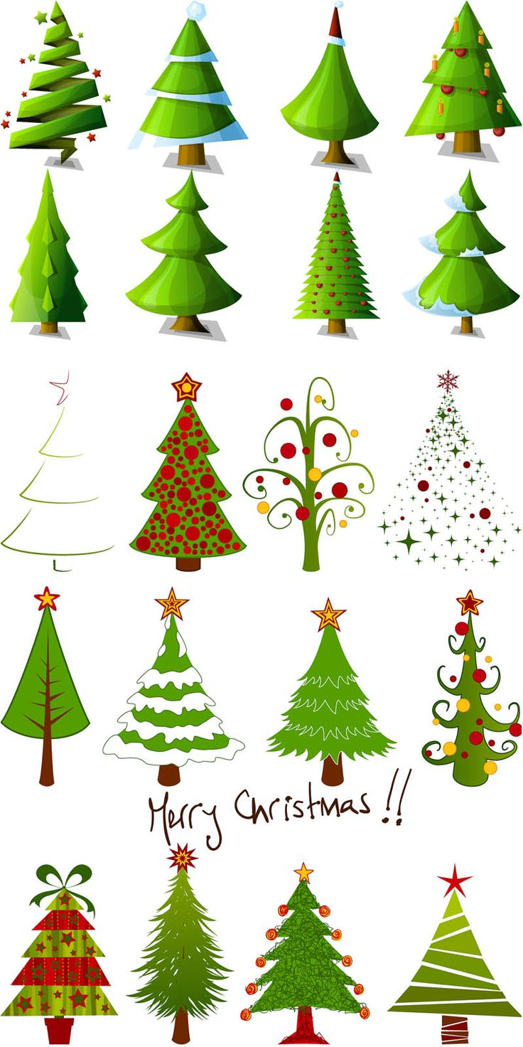 Different types of christmas trees pictures - 2 Sets Of 20 Vector Cartoon Christmas Tree Designs In Different Styles For Your Xmas Logo