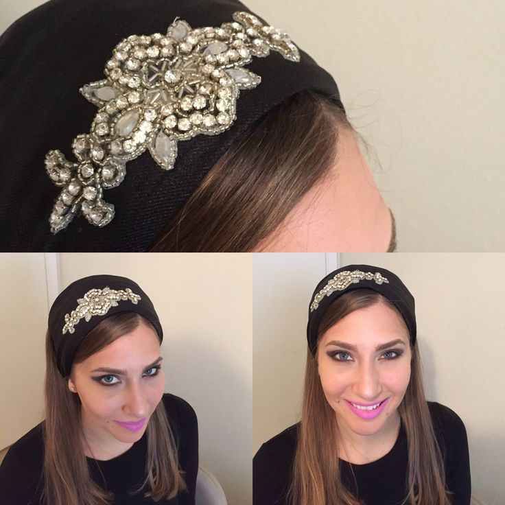 Black half head cover/ head band with rhinestones. www.elishevashoham.com