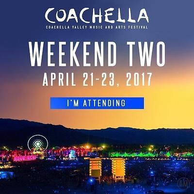 #Tickets COACHELLA 2017 WEEKEND 2 (APRIL 21-23) 1 VIP TICKET (3 DAY PASS) #Tickets