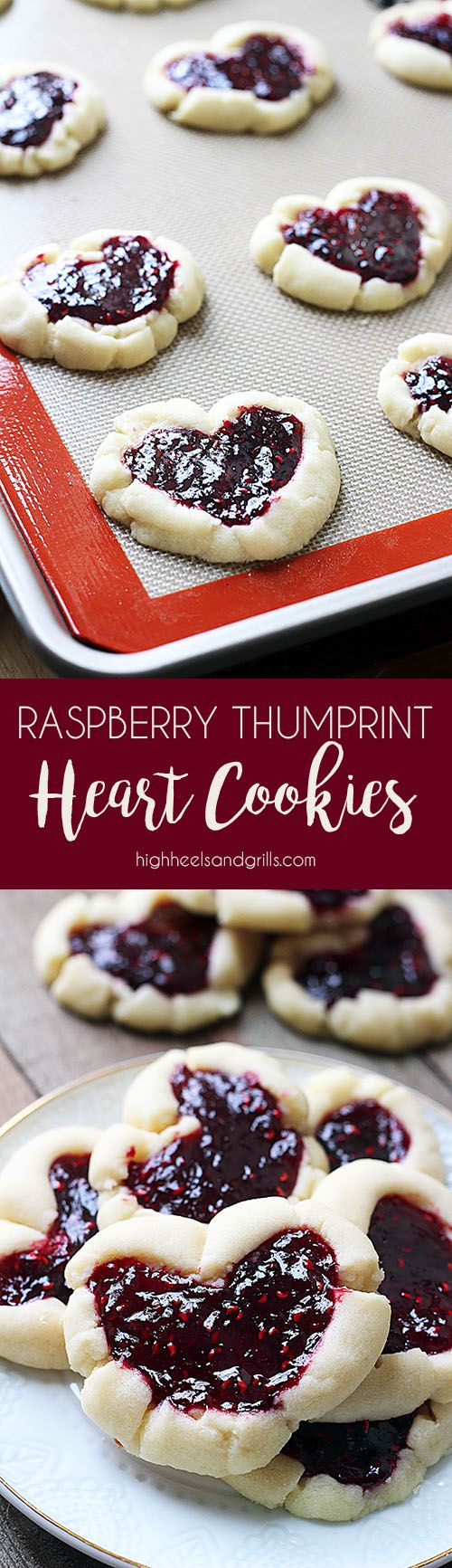 Raspberry Thumbprint Heart Cookies - Buttery, delicious, and so easy to make. Would be great for Valentine's Day!