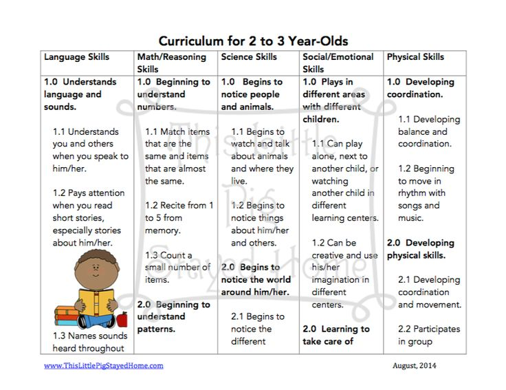 curriculum and standards for 2 3 year olds homeschool free printables found at