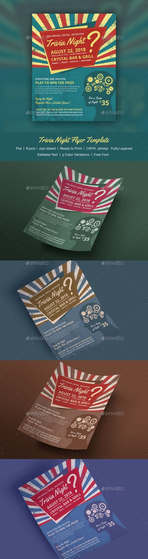 Trivia #Night #Flyer #Template - Print Templates Download here: https://graphicriver.net/item/trivia-night-flyer-template/19520962?ref=alena994